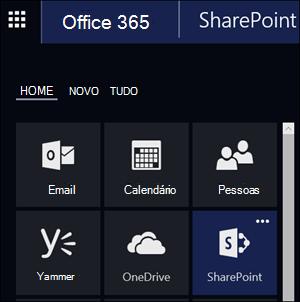 Bloco do SharePoint no inicializador de aplicativos do Office 365