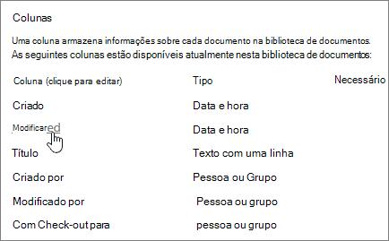 Selecione a seção de coluna da coluna de mostrando de configurações da biblioteca sendo selecionada.