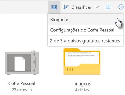 Captura de tela do bloqueio do Cofre Pessoal no OneDrive