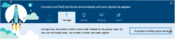 captura de tela do Tour guiado do OneDrive que aparece quando você primeiro usa o OneDrive for Business no Office 365