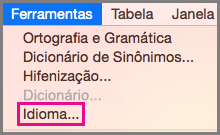 Menu de Ferramentas de Idioma no Office para Mac