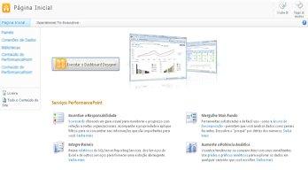 O modelo de site do PerformancePoint, que torna mais fácil saber mais sobre os Serviços PerformancePoint e executar o PerformancePoint Dashboard Designer