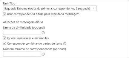 Opções de mesclagem difusa na caixa de diálogo Mesclar