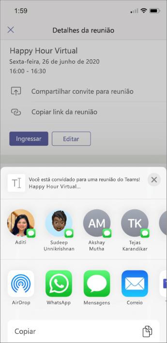 Detalhes da reunião – captura de tela móvel