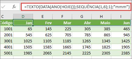 Planilha do Excel com a função SEQUÊNCIA