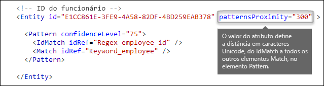 Marcação XML mostrando o atributo patternsProximity
