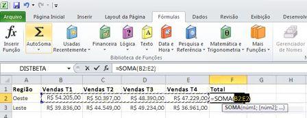 Usar a AutoSoma para adicionar rapidamente uma linha de dados