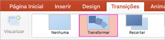 Transições fluidas do PowerPoint com Transformar.