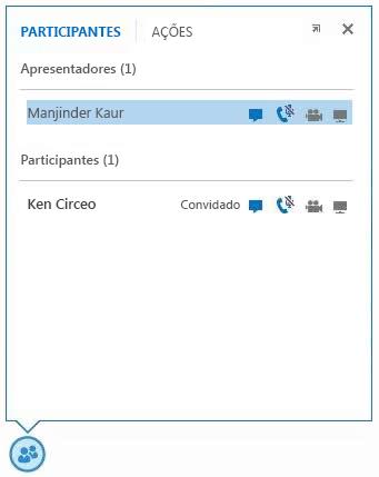 captura de tela dos ícones ao lado do nome do participante para indicar a disponibilidade das funcionalidades de Mensagens Instantâneas, áudio, vídeo e compartilhamento