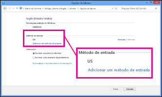 Adicionar um método de entrada no Windows 8