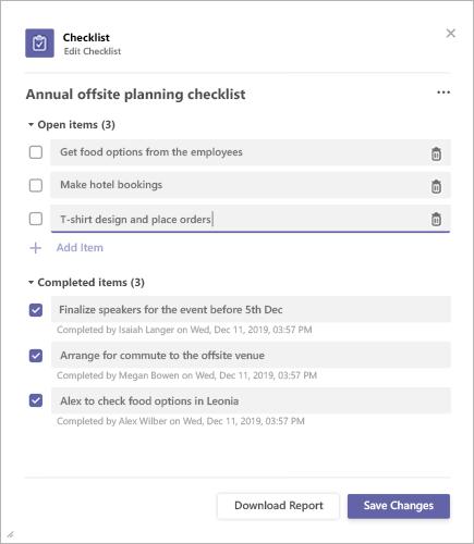 Resultados da lista de verificação no Microsoft Teams