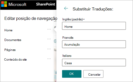 Navegação traduzida