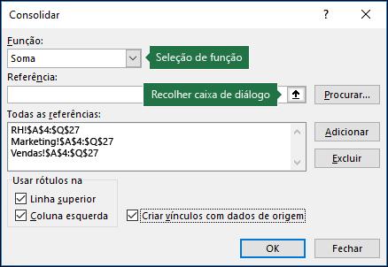 Caixa de diálogo Consolidação de dados