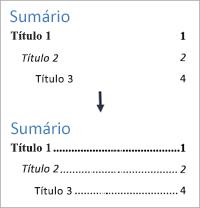 Mostra a opção Adicionar linhas pontilhadas em um sumário