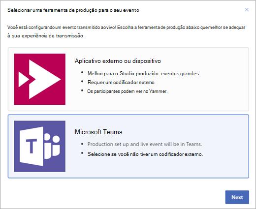Evento ao vivo do Yammer mostrando o Microsoft Teams como ferramenta de produção