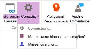 Selecione conexões da faixa de opções do bloco de anotações de classe.