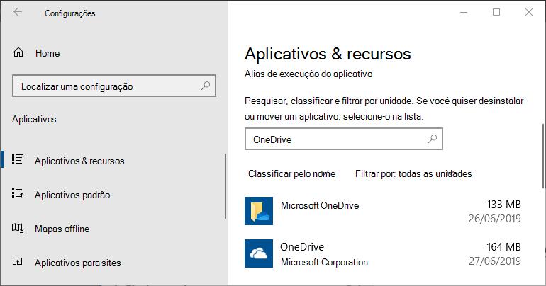 Configurações de Aplicativo OneDrive no Windows