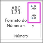 aumentar ou diminuir casas decimais em formatação de números