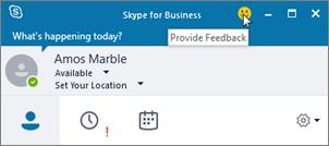 Relatório de comentários do cliente Skype for Business.