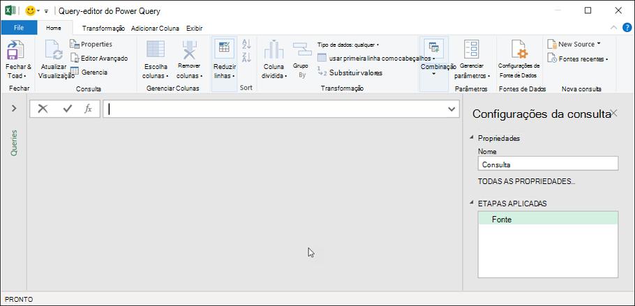 Editor de consultas no Excel 365
