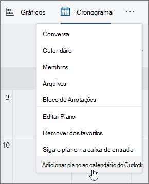 Captura de tela do menu Planner com a guia Adicionar plano ao calendário do Outlook selecionada.