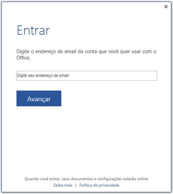 Primeira tela de entrada ou tela de troca de conta