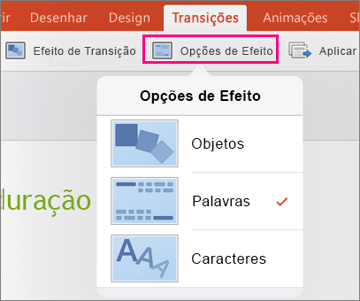 Mostra as Opções de Efeito da transição Transformar no PowerPoint 2016 para iPad