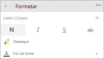 Modifique configurações de fontes.