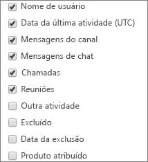 Relatório de atividades de usuários de equipes – escolha as colunas