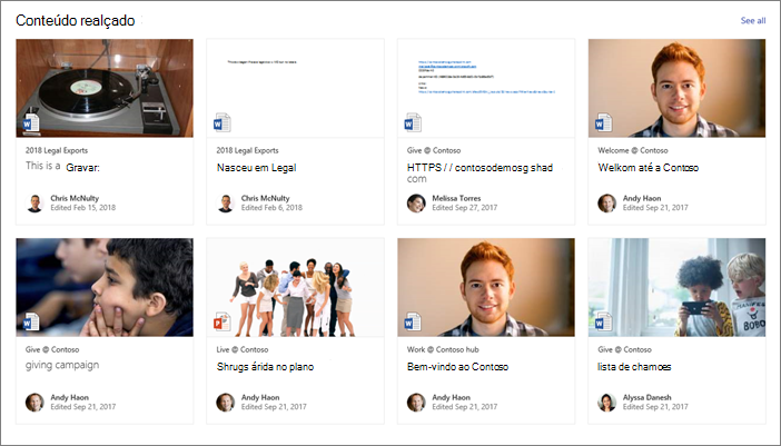 Exemplo de conteúdo realçado em uma página