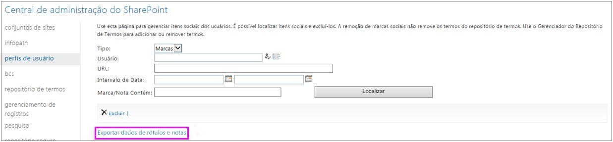 Captura de tela com o link de exportação realçado
