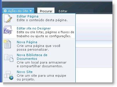 SharePoint Designer 2010 no menu Ações do Site