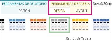 Grupo Estilos de Tabela, na guia Design de Ferramentas de Tabela
