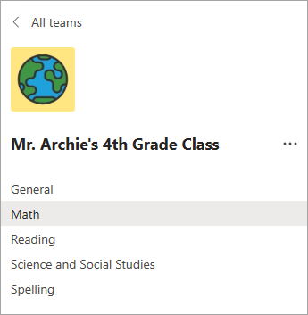 Canais na equipe de classe de um professor da 4ª série.
