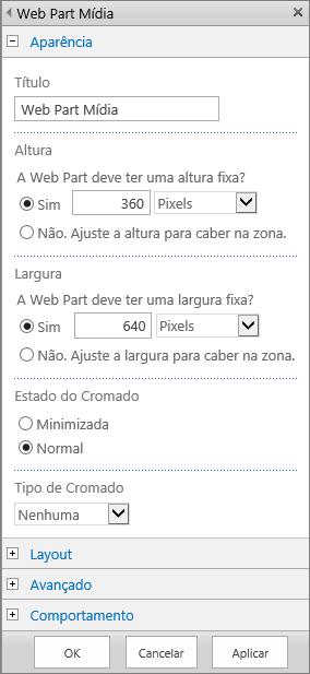 Captura de tela da caixa de diálogo Web Part Mídia no SharePoint Online para especificar as configurações relacionadas à Aparência, Layout, Avançado e Comportamento dos arquivos de mídia. As opções de Aparência são mostradas, incluindo título, altura, largura e estado e tipo do cromado.