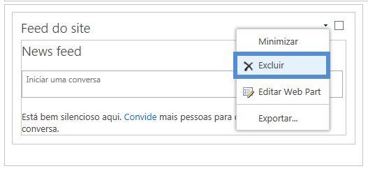 Excluir web part