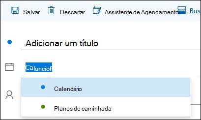 Uma captura de tela do nome do calendário no formulário de detalhes do evento
