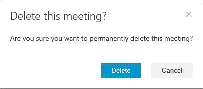 Confirme se você quer excluir a reunião