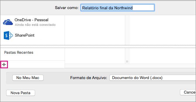 Para adicionar um serviço online, clique no sinal de adição no canto inferior esquerdo da coluna na caixa de diálogo Salvar como.
