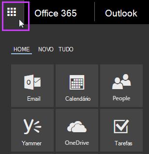 Inicializador de aplicativos do Office 365 mostrando os blocos Email, Calendário, Pessoas, Yammer e OneDrive