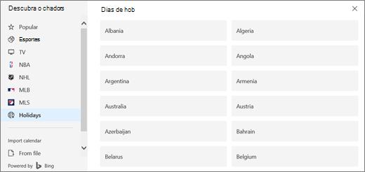 Uma captura de tela mostra a opção de feriados no descobrir calendários.