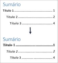 Mostra antes e depois modos de exibição de estilos de texto em um Sumário de formatação