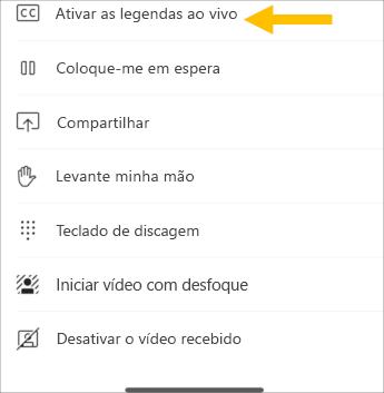 Ativar legendas dinâmicas-captura de tela do celular