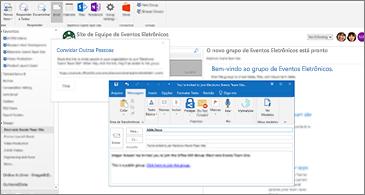 A caixa de diálogo Convidar outras pessoas em segundo plano e email para convidado em primeiro plano