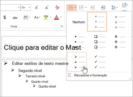 Configurando o marcador de padrão para todos os níveis