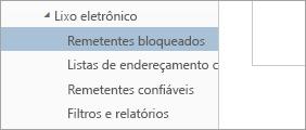 Uma captura de tela de Remetentes bloqueados, no menu Opções