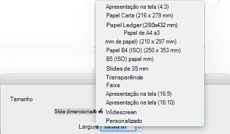 Há várias opções de tamanho do slide predefinidas na caixa de diálogo Configurar página