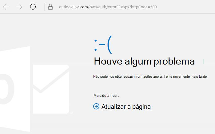 """Código de erro 500 do Outlook.com """"Algo deu errado"""""""