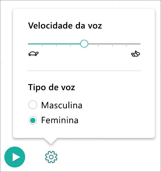 Menu Controles de Voz na Leitura Avançada, parte das Ferramentas de Aprendizagem para OneNote.