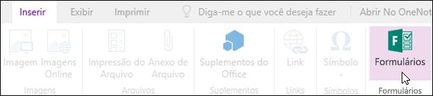 Opção Inserir formulários no OneNote para a Web